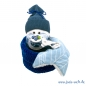 "Mobile Preview: Baby Geschenk Windelbaby in the Box ""Blaubeere"" mit Schnullerltuch blau"