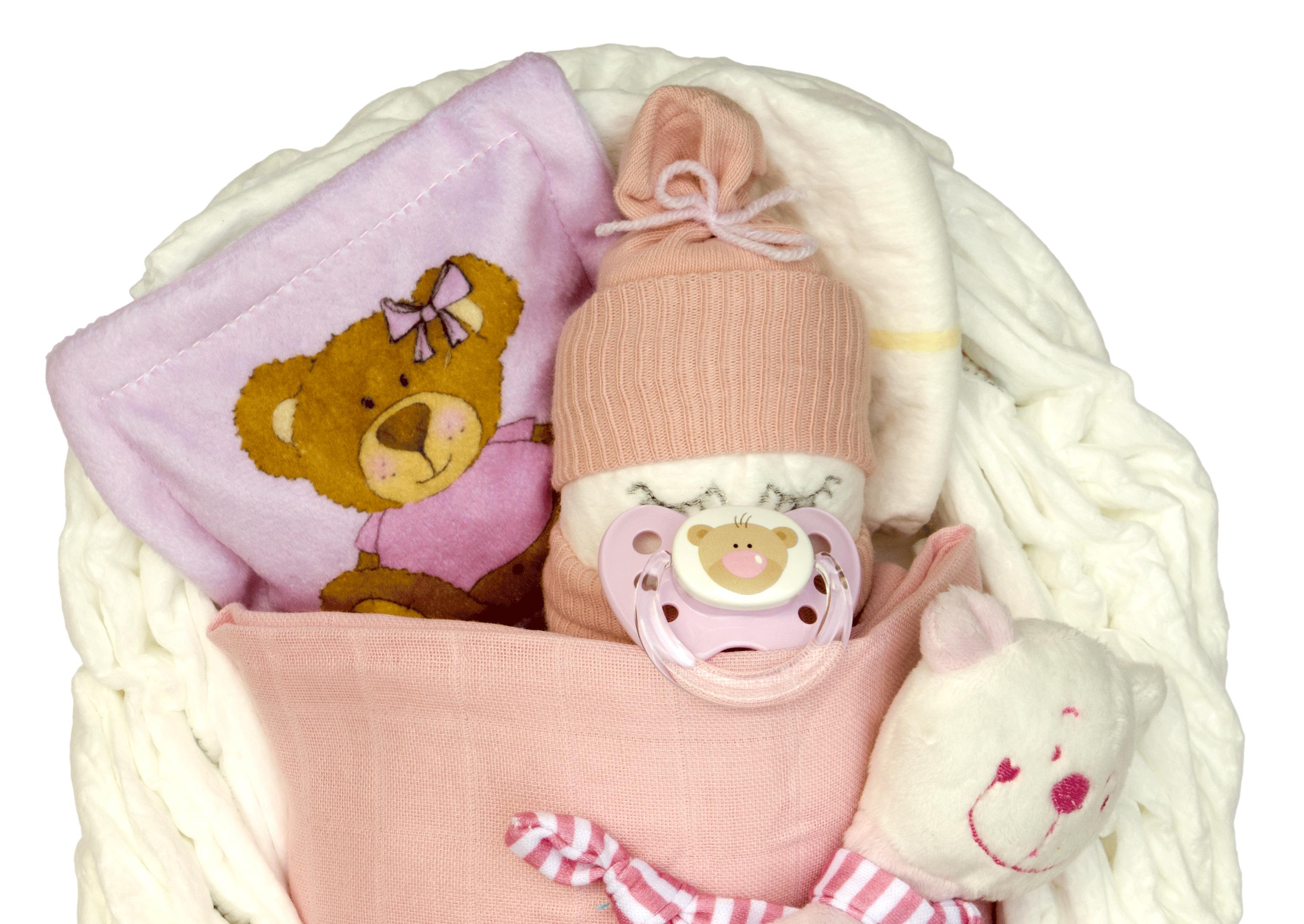 Windeltorte kleines Windelbettchen mit B/är rosa